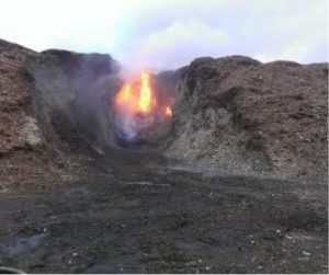 Późny etap samoistnego zapłonu składowiska biomasy