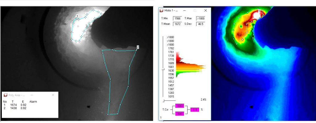 Obraz kamery termowizyjnej z pomiarem temperatury w palecie barw czarno-biały dla zwiększenia jakości obrazu dla oka oraz obraz termowizyjny z analizą jądra płomienia