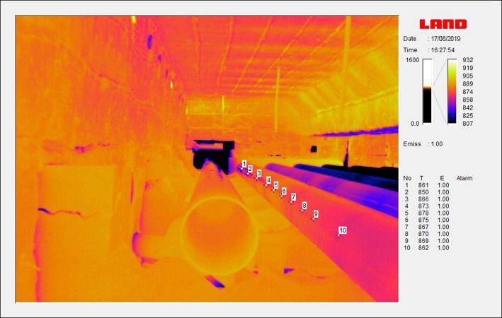Piec do wygrzewania rur w obrazie kamery termowizyjnej (pomiar temperatury w dowolnym miejscu obrazu)